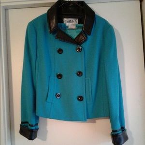 Deep Teal Jacket w/Leather Trim - Size 10